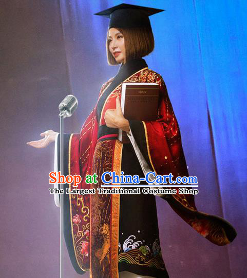 Chinese Traditional Han Dynasty Historical Costume Ancient Princess Red Hanfu Dress for Women