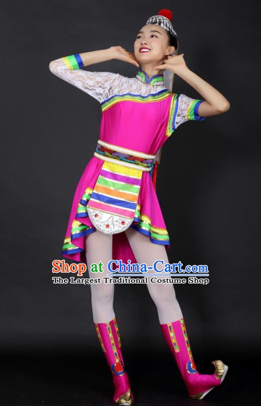 Chinese Tibetan Dance Rosy Short Dress Traditional Zang Nationality Stage Performance Costume for Women