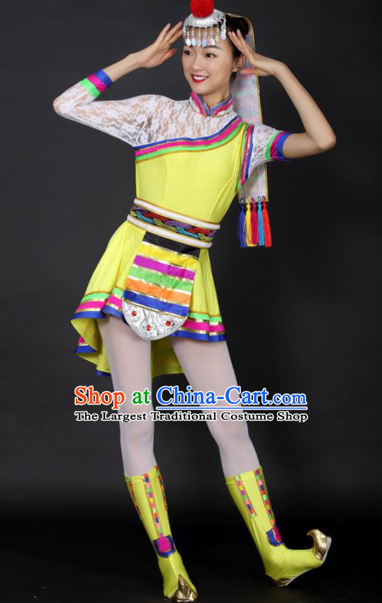 Chinese Tibetan Dance Yellow Short Dress Traditional Zang Nationality Stage Performance Costume for Women