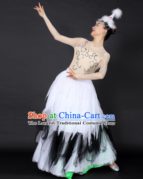 Chinese Mongolian Dance White Dress Traditional Mongol Nationality Stage Performance Costume for Women