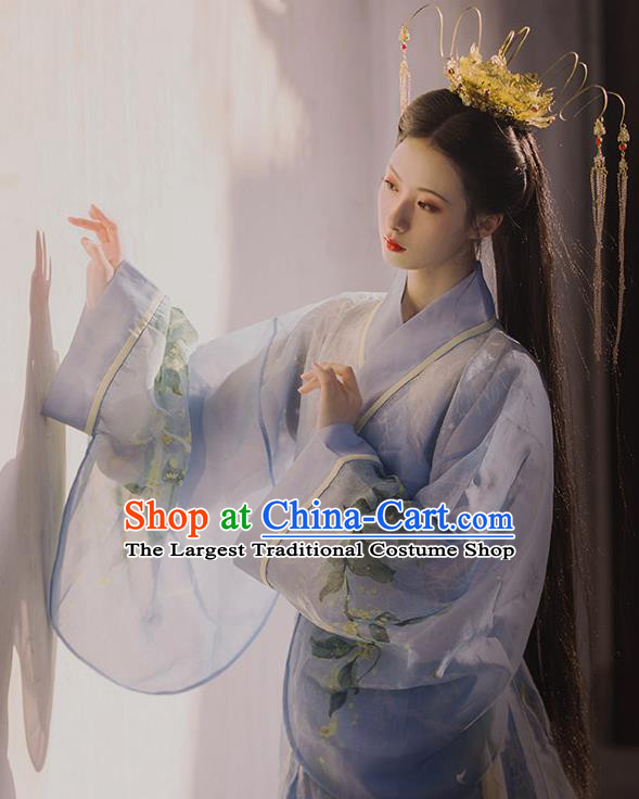 Chinese Traditional Han Dynasty Royal Princess Historical Costume Ancient Goddess Blue Hanfu Dress for Women