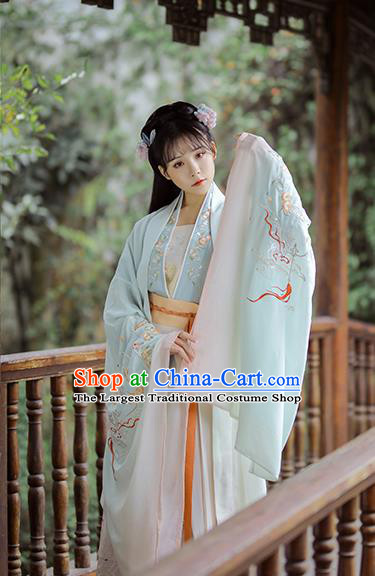 Chinese Traditional Tang Dynasty Royal Princess Historical Costume Ancient Goddess Embroidered Hanfu Dress for Women