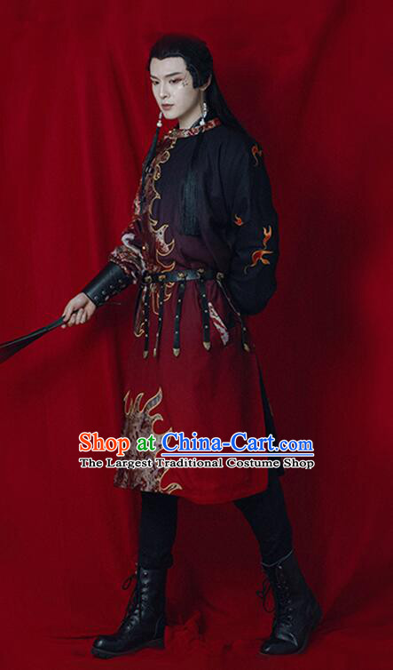 Chinese Traditional Tang Dynasty Swordsman Historical Costume Ancient Imperial Bodyguard Embroidered Clothing for Men