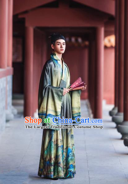 Chinese Traditional Ming Dynasty Scholar Historical Costume Ancient Taoist Green Robe for Men
