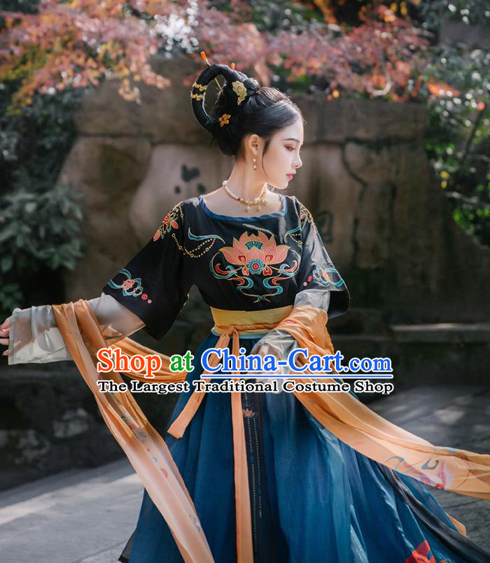 Chinese Traditional Tang Dynasty Court Maid Historical Costume Ancient Flying Apsaras Hanfu Dress for Women