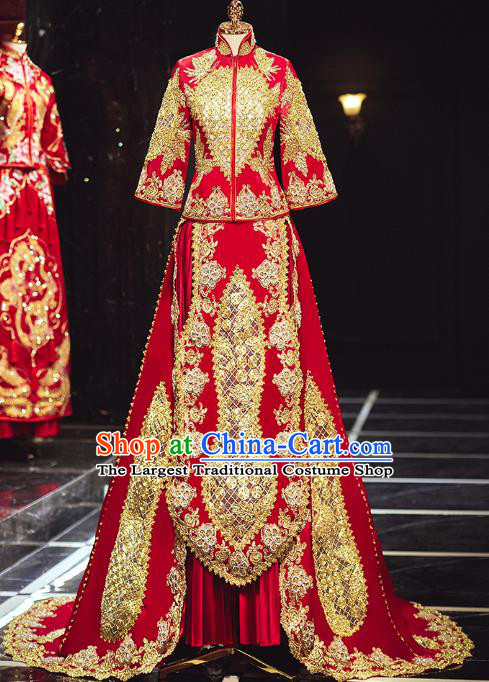 Chinese Traditional Embroidered Trailing Red Xiuhe Suits Wedding Dress Ancient Bride Costume for Women