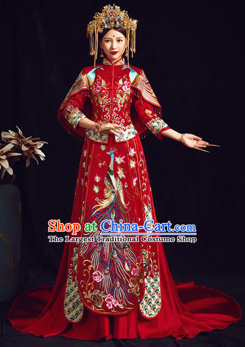 Chinese Traditional Bride Embroidered Phoenix Peony Red Xiuhe Suits Wedding Dress Ancient Costume for Women