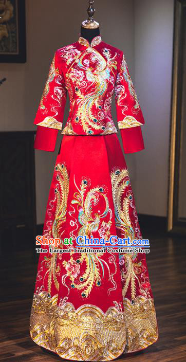 Chinese Traditional Bride Embroidered Phoenix Peony Xiuhe Suits Red Wedding Dress Ancient Costume for Women