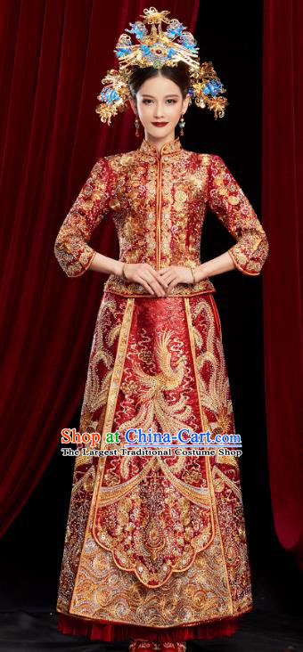 Chinese Traditional Embroidered Phoenix Red Xiuhe Suits Wedding Dress Ancient Bride Costume for Women