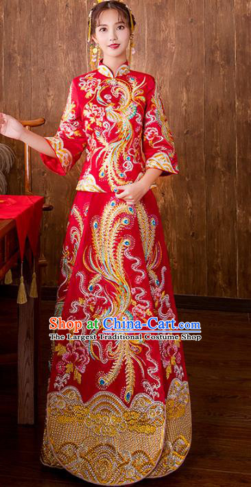 Chinese Traditional Bride Embroidered Phoenix Xiuhe Suits Red Wedding Dress Ancient Costume for Women