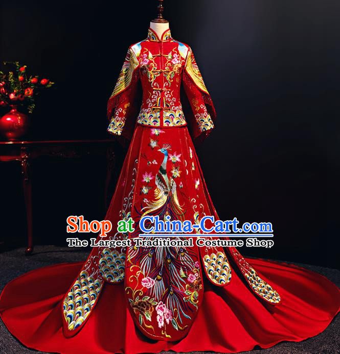 Chinese Traditional Bride Embroidered Trailing Xiuhe Suits Red Wedding Dress Ancient Costume for Women