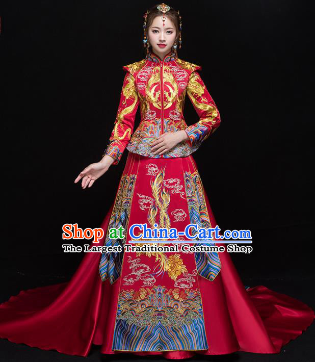 Chinese Traditional Wedding Embroidered Trailing Xiuhe Suits Red Bride Dress Ancient Costume for Women