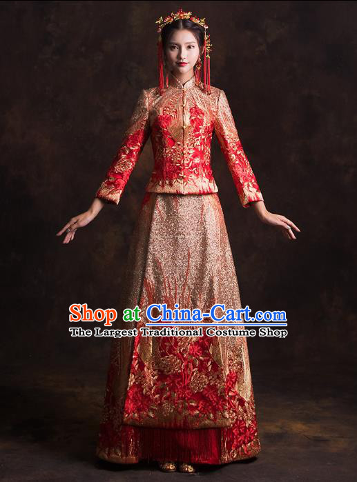 Chinese Traditional Embroidered Red Diamante Xiuhe Suits Wedding Bride Dress Ancient Costume for Women