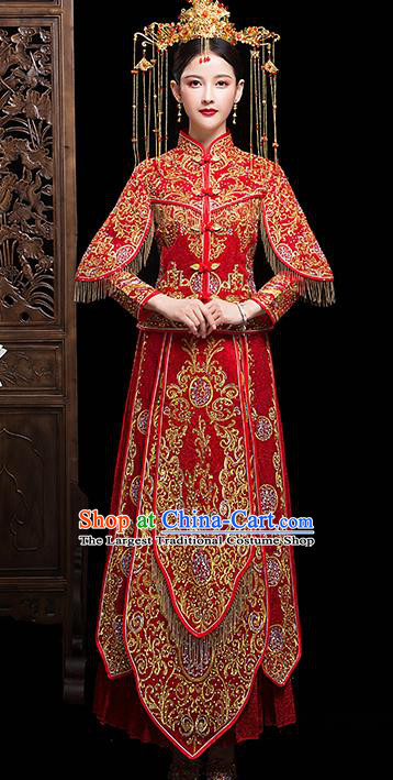 Chinese Embroidered Red Xiuhe Suits Traditional Wedding Bride Dress Ancient Costume for Women