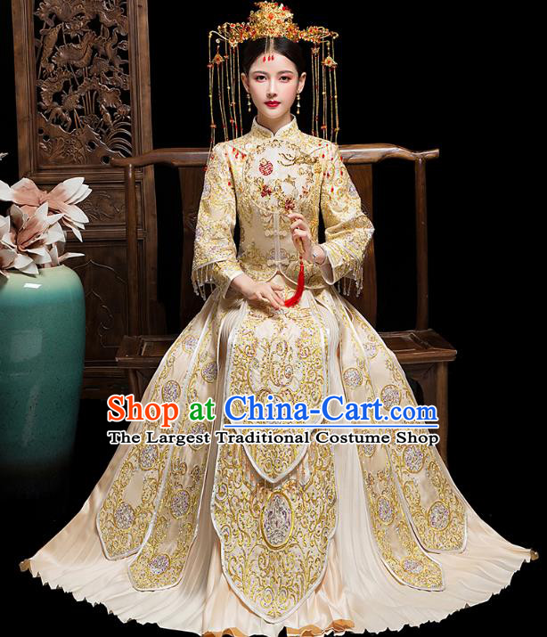 Chinese Embroidered Champagne Xiuhe Suits Traditional Wedding Bride Dress Ancient Costume for Women