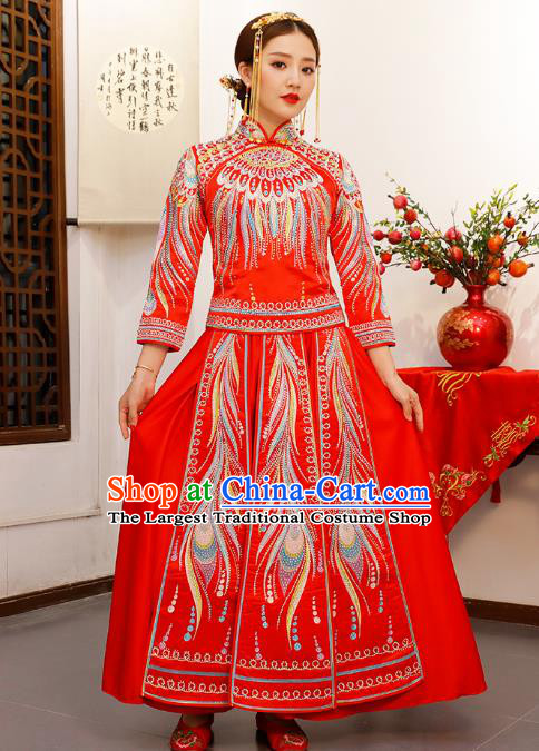 Chinese Embroidered Red Longfeng Flown Xiuhe Suits Traditional Wedding Bride Dress Ancient Costume for Women