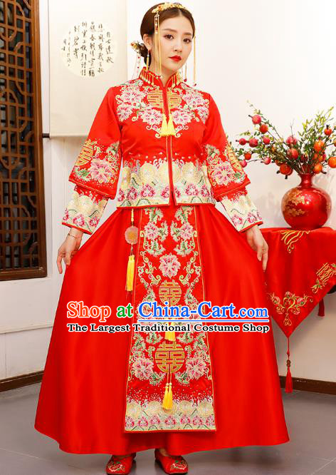 Chinese Embroidered Peony Longfeng Flown Wedding Xiuhe Suits Traditional Bride Dress Ancient Costume for Women