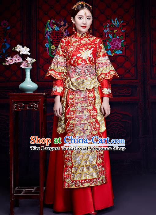 Chinese Ancient Wedding Embroidered Longfeng Flown Xiuhe Suits Traditional Bride Dress Costume for Women