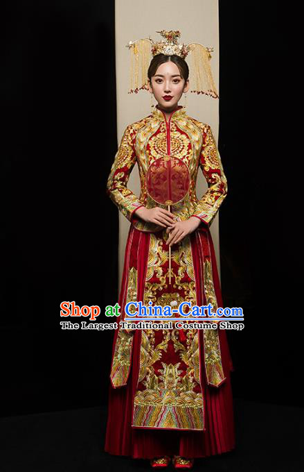 Chinese Traditional Golden Embroidered Xiuhe Suits Wedding Dress Ancient Bride Costume for Women