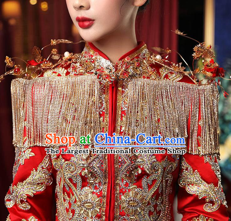 Chinese Ancient Wedding Shoulder Accessories Traditional Bride Xiuhe Suits Tippet for Women