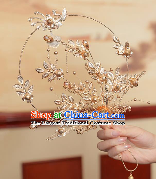 Chinese Traditional Golden Leaf Phoenix Palace Fans Handmade Classical Hanfu Wedding Fan for Women