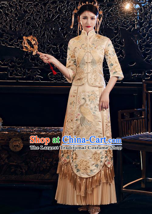Chinese Traditional Embroidered Peacock Golden Xiuhe Suits Wedding Dress Ancient Bride Costume for Women