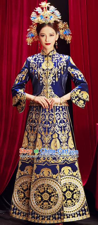 Chinese Traditional Bride Embroidered Royalblue Xiuhe Suits Wedding Dress Ancient Costume for Women