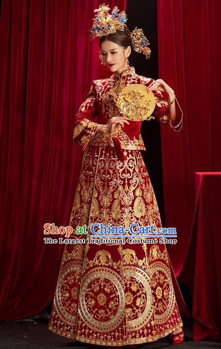 Chinese Traditional Bride Embroidered Red Xiuhe Suits Wedding Dress Ancient Costume for Women