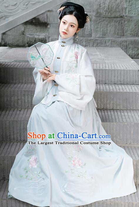Chinese Ancient Ming Dynasty Patrician Lady Historical Costume Traditional Hanfu Embroidered Dress for Women