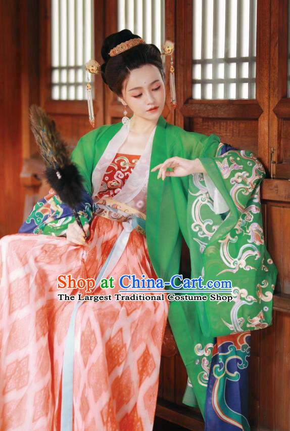 Chinese Traditional Tang Dynasty Historical Costume Ancient Royal Princess Hanfu Dress for Women