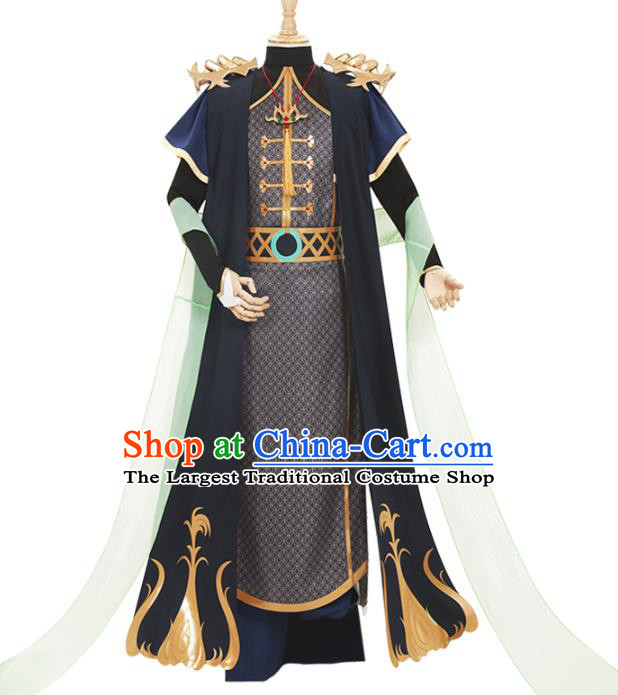 Traditional Chinese Cosplay Prince Knight Black Costume Ancient Swordsman Hanfu Clothing for Men