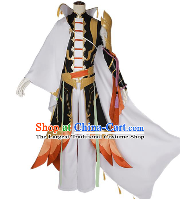 Traditional Chinese Cosplay General White Costume Ancient Swordsman Hanfu Clothing for Men