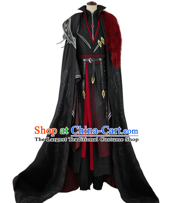 Traditional Chinese Cosplay Royal Highness Black Costume Ancient Swordsman Hanfu Clothing for Men
