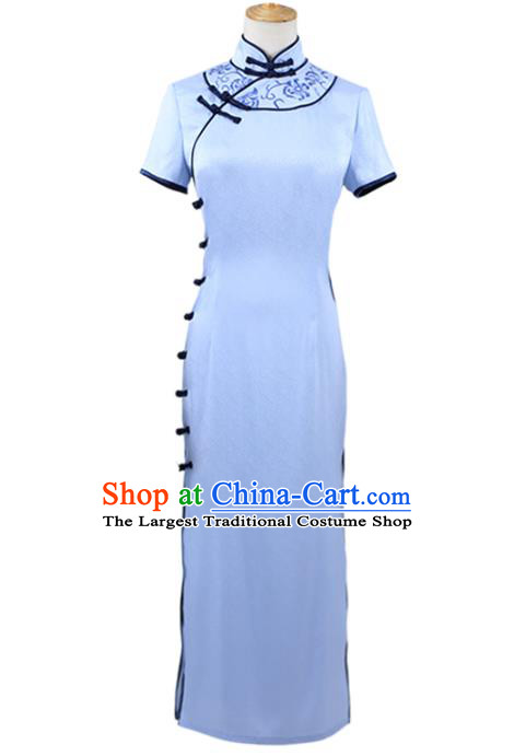 Traditional Chinese Embroidered Blue Qipao Dress Costume Ancient Female Swordsman Hanfu Dress for Women