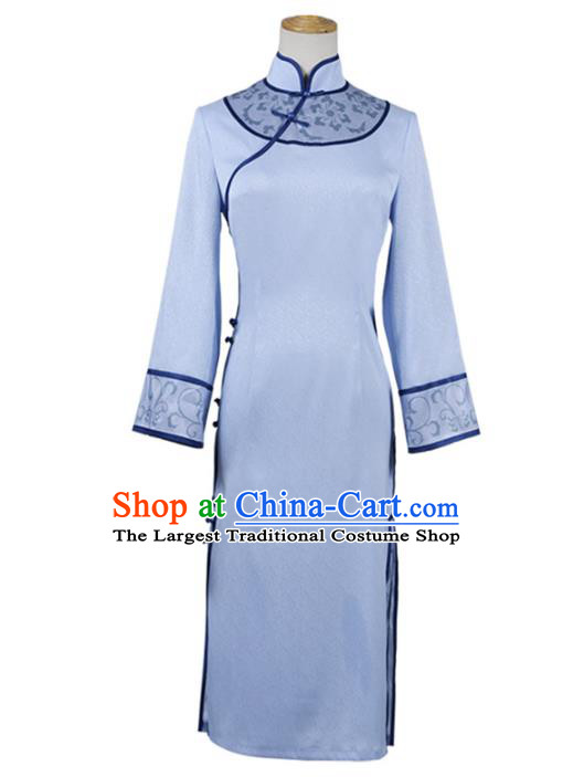 Traditional Chinese Qing Dynasty Embroidered Blue Qipao Dress Costume Ancient Princess Hanfu Dress for Women