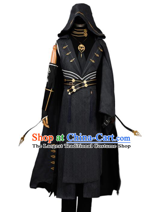 Traditional Chinese Cosplay Young Knight Black Costume Ancient Swordsman Hanfu Clothing for Men