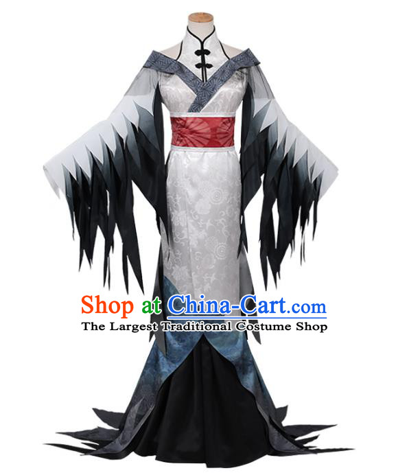 Traditional Chinese Cosplay Queen Grey Dress Costume Ancient Female Swordsman Hanfu Costume for Women