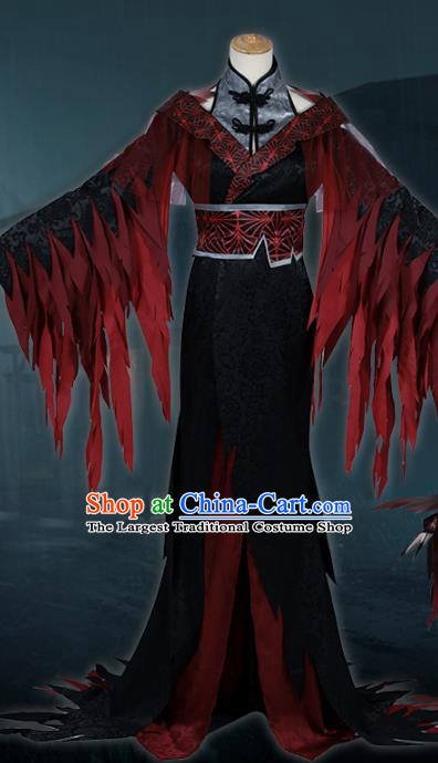Traditional Chinese Cosplay Queen Black Dress Costume Ancient Female Swordsman Hanfu Costume for Women