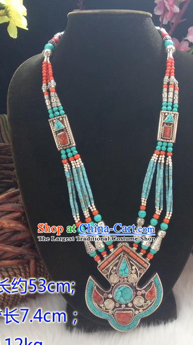 Chinese Zang Nationality Copper Green Beads Necklace Handmade Traditional Tibetan Ethnic Jewelry Accessories for Women