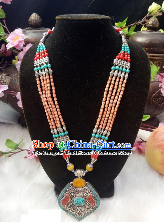 Chinese Zang Nationality Copper Orange Beads Necklace Handmade Traditional Tibetan Ethnic Jewelry Accessories for Women