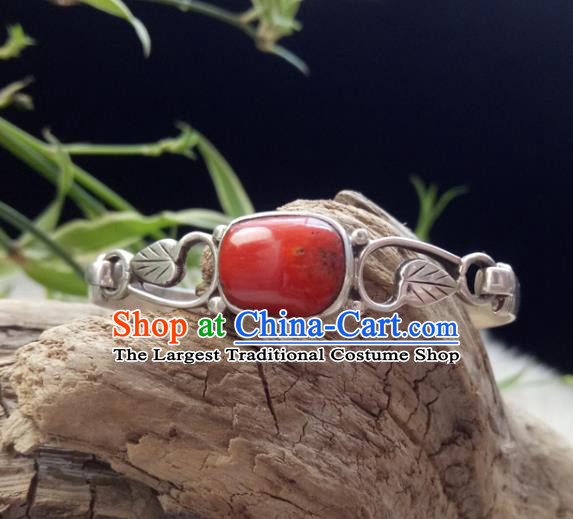 Chinese Zang Nationality 925 Silver Red Coral Bracelet Handmade Traditional Tibetan Ethnic Jewelry Accessories for Women