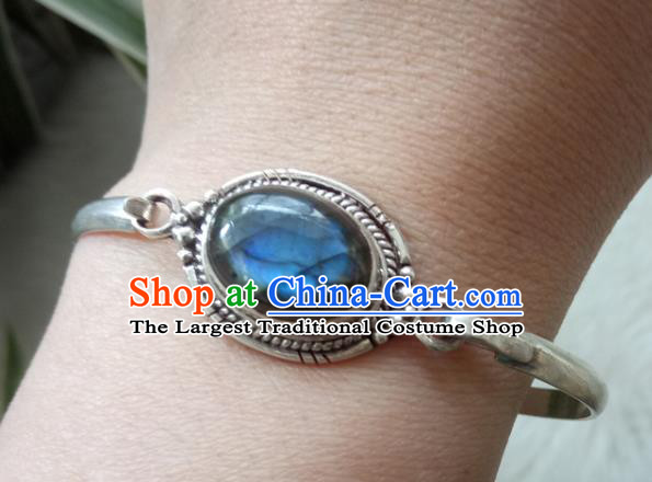 Chinese Zang Nationality 925 Silver Blue Moonstone Bracelet Handmade Traditional Tibetan Ethnic Jewelry Accessories for Women