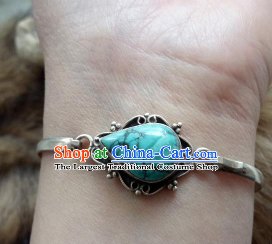Chinese Zang Nationality Kallaite 925 Silver Bracelet Handmade Traditional Tibetan Ethnic Jewelry Accessories for Women