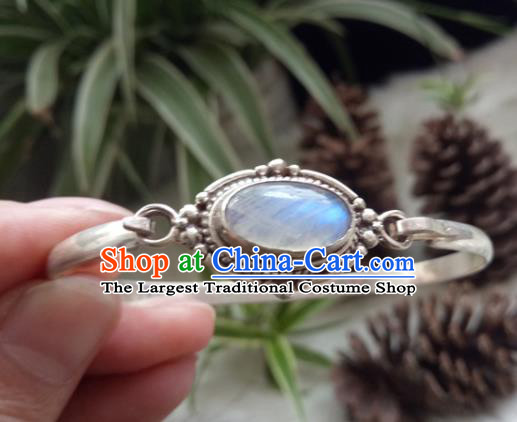 Chinese Zang Nationality Moonstone Silver Bracelet Handmade Traditional Tibetan Ethnic Jewelry Accessories for Women