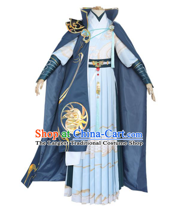 Traditional Chinese Ming Dynasty Blades Costume Ancient Swordsman Hanfu Clothing for Men