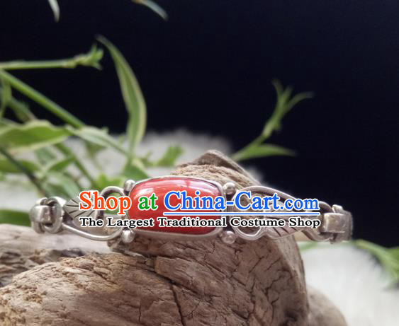 Chinese Zang Nationality Coral Carving Silver Leaf Bracelet Handmade Traditional Tibetan Ethnic Jewelry Accessories for Women