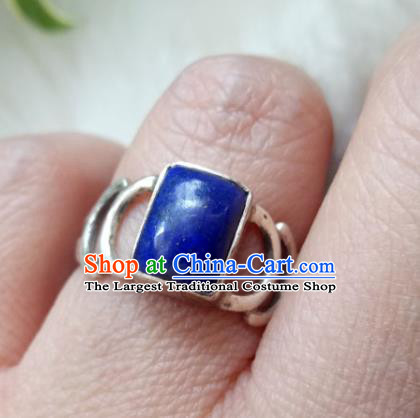 Chinese Zang Nationality Lapis Lazuli Silver Rings Handmade Traditional Tibetan Ethnic Jewelry Accessories for Women
