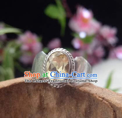 Chinese Zang Nationality Silver Citrine Rings Handmade Traditional Tibetan Ethnic Jewelry Accessories for Women