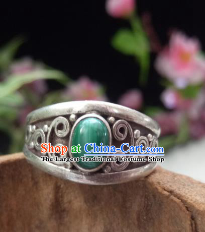 Chinese Zang Nationality Silver Malachite Rings Handmade Traditional Tibetan Ethnic Jewelry Accessories for Women