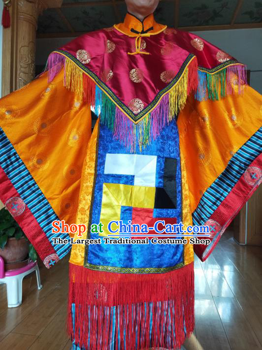 Chinese Zang Nationality Priest Blue Costumes Traditional Tibetan Ethnic Folk Dance Clothing Complete Set